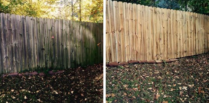 Wood Fence cleaning before and after pressure washing