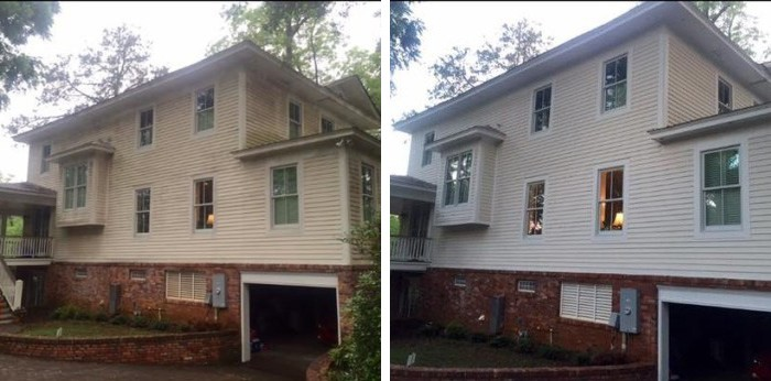 Exterior siding House before and after cleaning