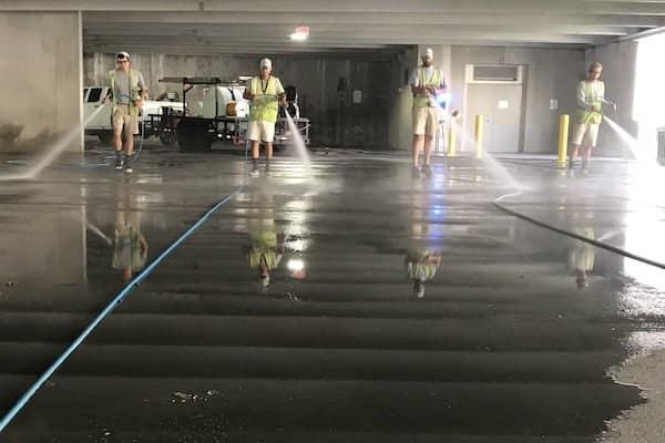USC Parking Garage cleaning