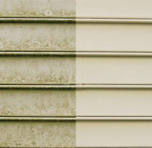building cleaning of vinyl siding before and after