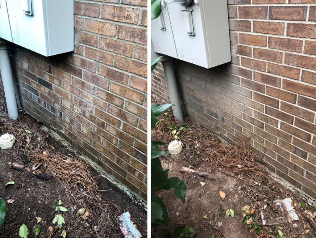 brick before and after pressure washing in Greenville sc