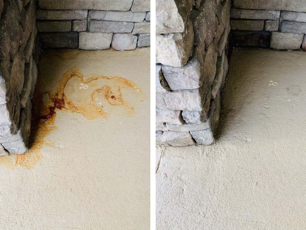 patio rust stains before and after