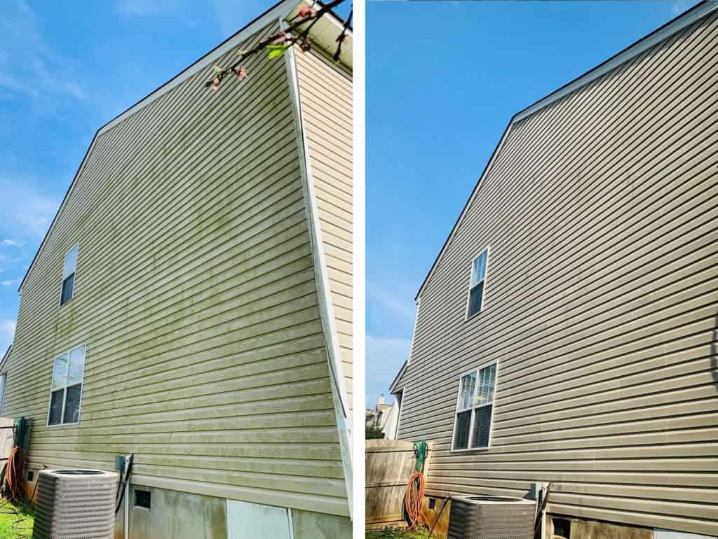 vinyl siding house before and after pressure washing