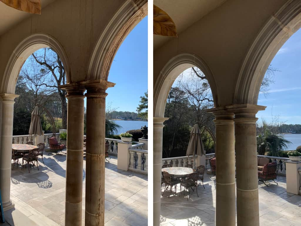arches before and after pressure washing
