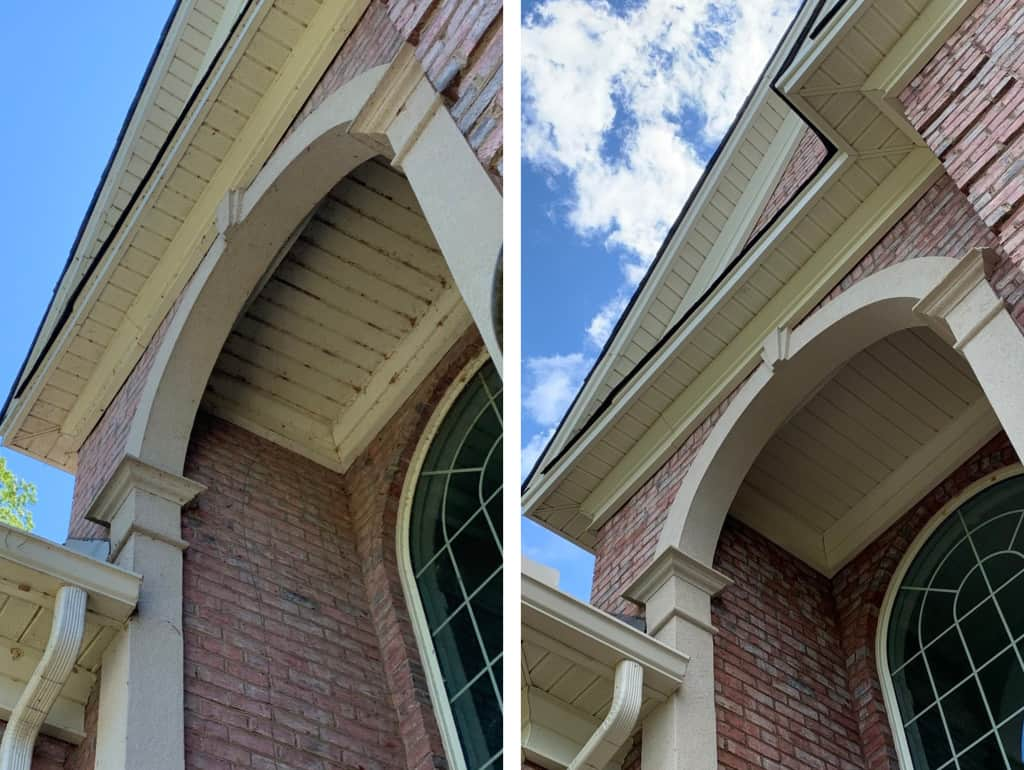 timberlake eaves before and after pressure washing